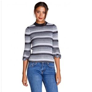 Michael Stars Striped Ribbed Fitted Sweater